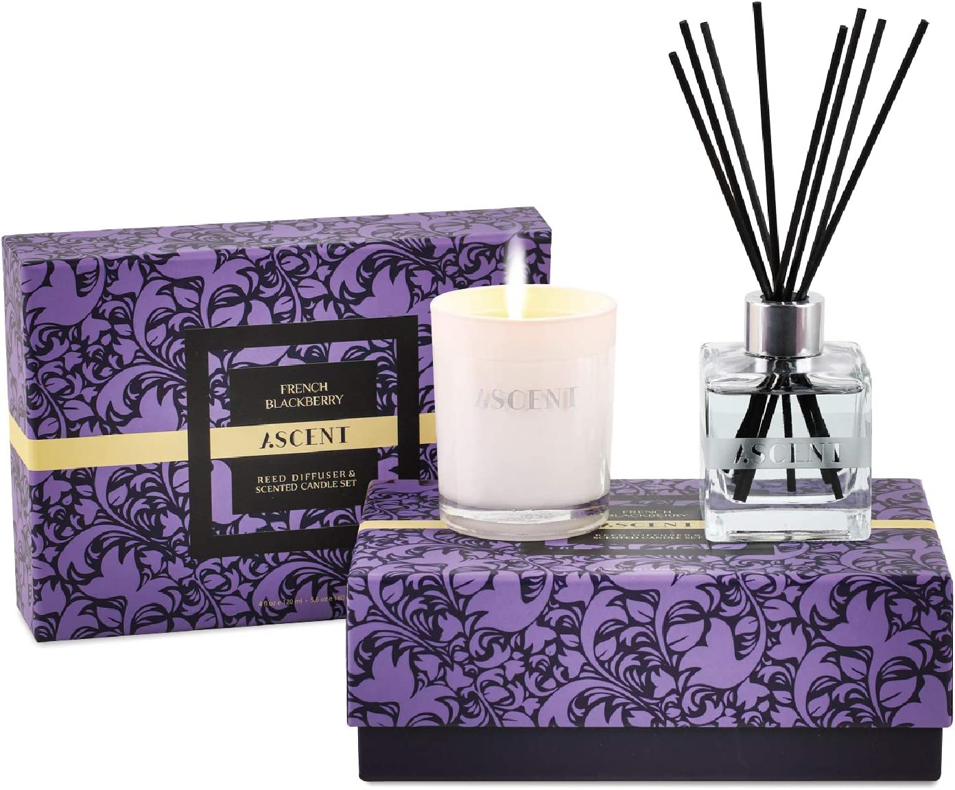 Reed Diffuser Set & Scented Candle French BlackBerry   Essential Oil Reed Diffuser   Room Fragrance Reed Diffuser Gift Set in Luxury Box   Large Reed Diffuser with Scent Sticks 4fl.oz   Candle 5oz