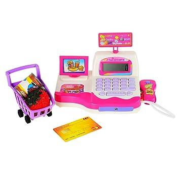 Joli Pretend Play Cajero de juguete - Juegos de caja registradora electrónicos Juego de mostrador de