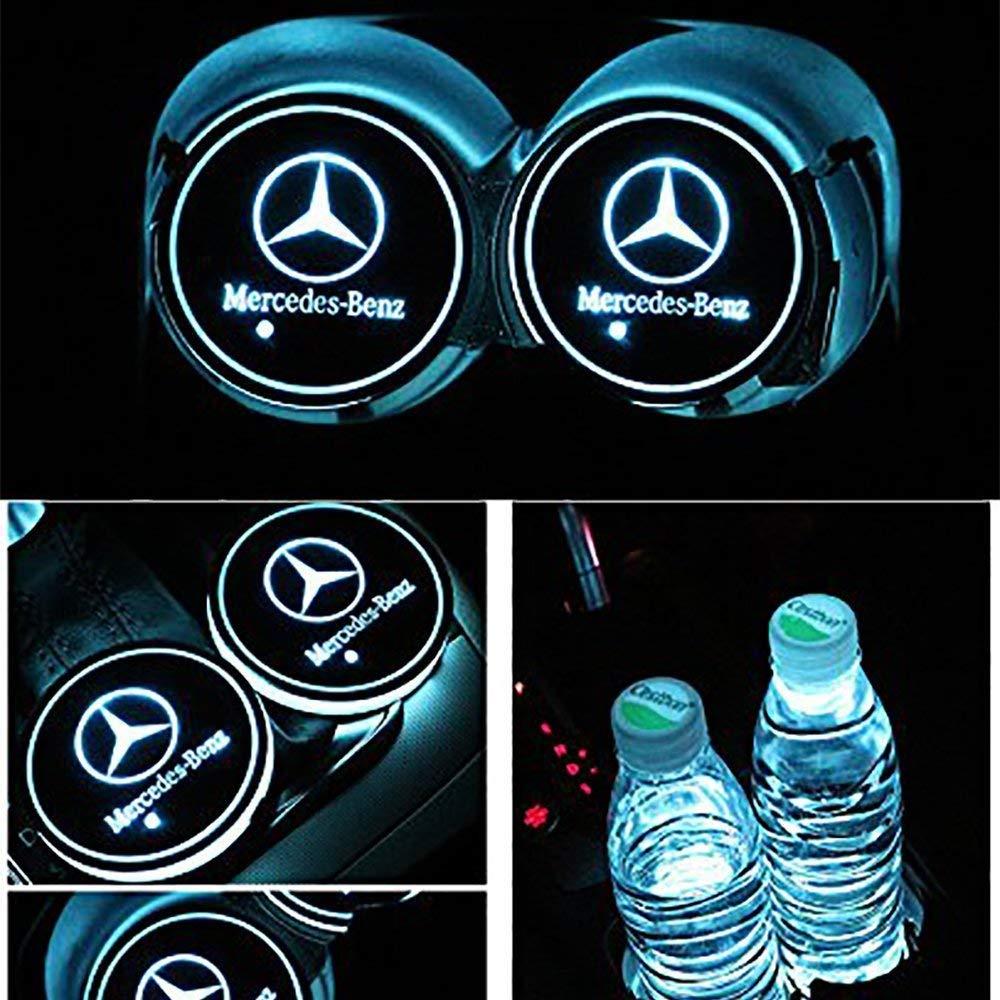 2 Pezzi LED Car Logo Cup Holder Pads 7 Colori Changing USB Charging Mats Bottle Coasters Car Atmosphere Lamps Honda