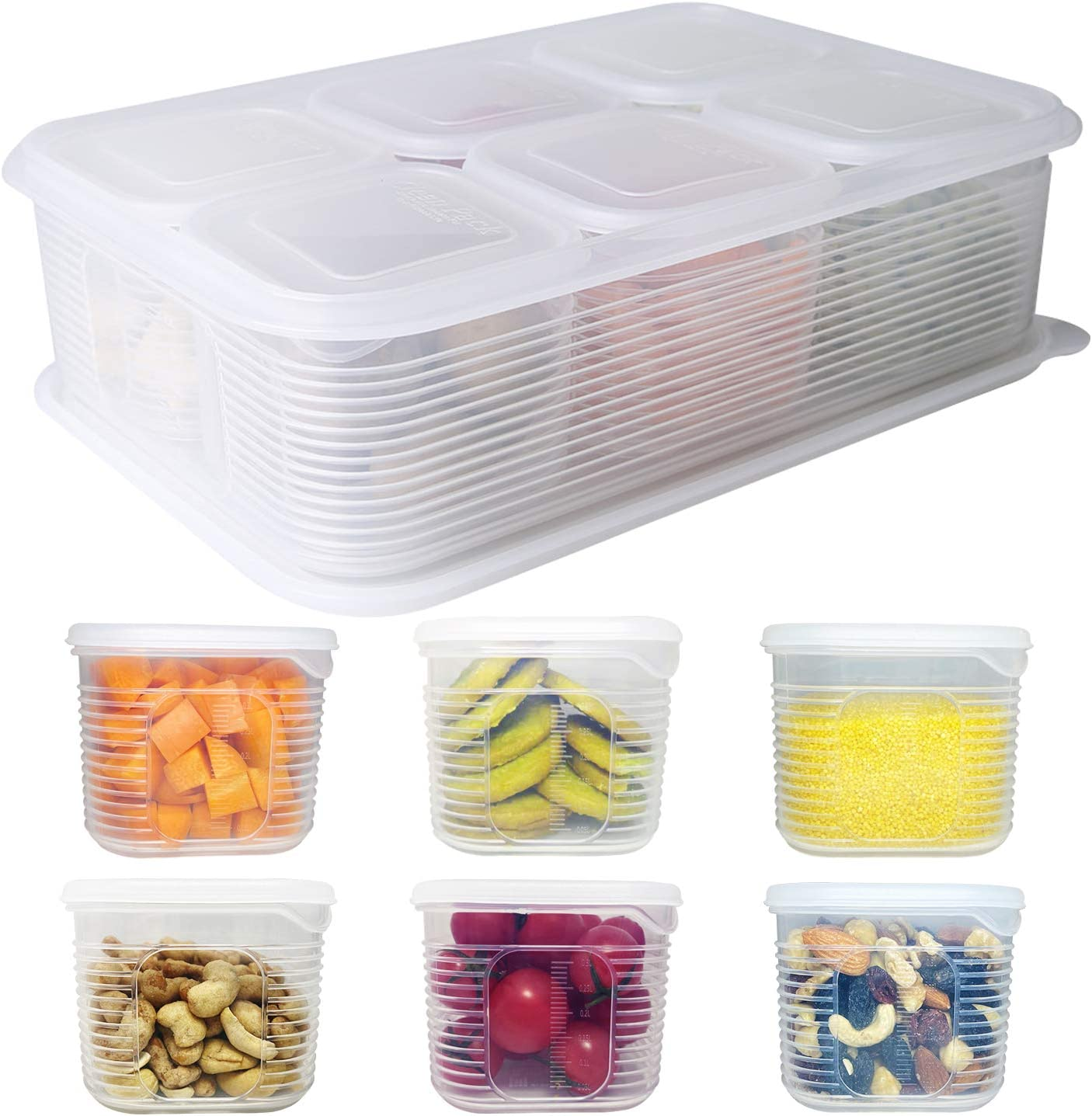 Fridge Food Storage Container- Reusable Fresh Produce Fruit Storage Organizer Plastic Produce Organizer Storage Bin with 6 detachable small boxes to Keep Fresh for Storing Fish, Meat, Vegetables