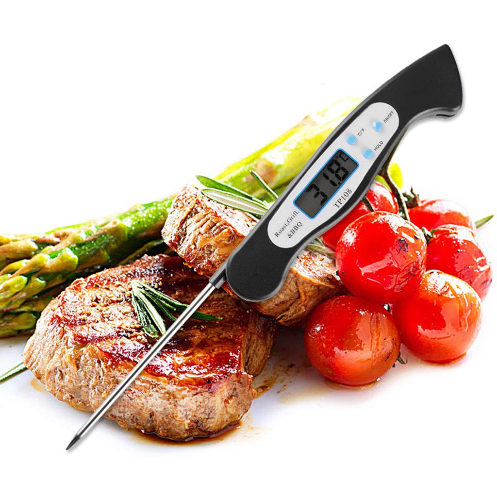 Glumes Digital Meat Thermometer, WATERPROOF Instant Read Cooking Thermometer, UPGRADED WITH BACKLIGHT CALIBRATION, Fast Probe, for Kitchen, BBQ, Grill Food, Auto On/Off, Battery Included