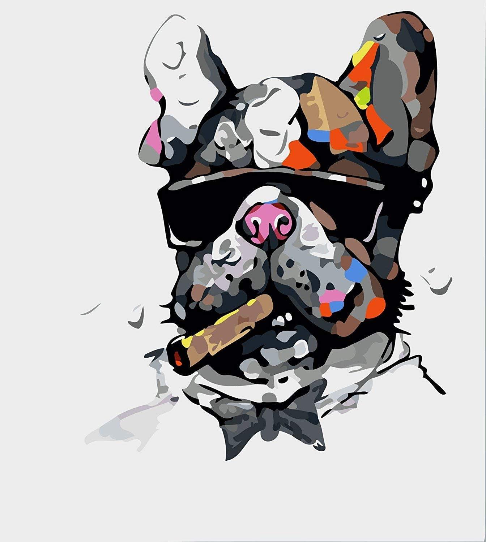 WISKALON Pintar por Numeros 40cm x 50cm Marco Pintura para Adultos y Niños con 3X Lupa, Acrílica Pintar y Pinceles - Perro Fumando un Cigarro (sin Marco)