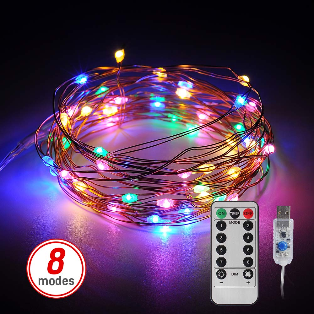 LED Fairy Lights,DingDian 16.6FT 50 LED USB Plug in Fairy String Lights, 8 Modes Multi-Color Changing Copper Wire Lights with Remote, Twinkle Lights for Bedroom, Patio, Party