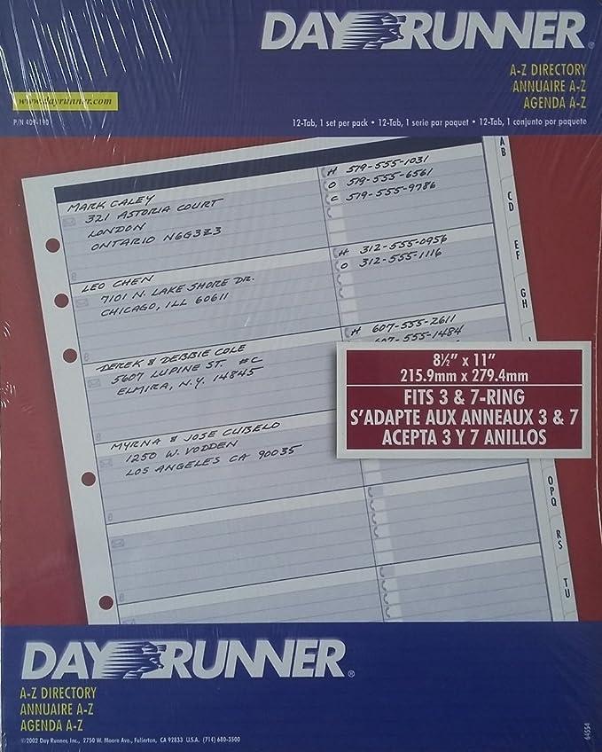 Día Runner Recambio A-Z directorio 8 1/2 x 11 409 - 190 para ...