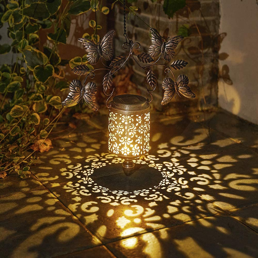 Walensee Solar Lantern Outdoor Garden Hanging Lantern Hanging Solar Lights Outdoor Waterproof LED Table Lamp Decorative Hanging Solar Lantern with Butterfly Handle