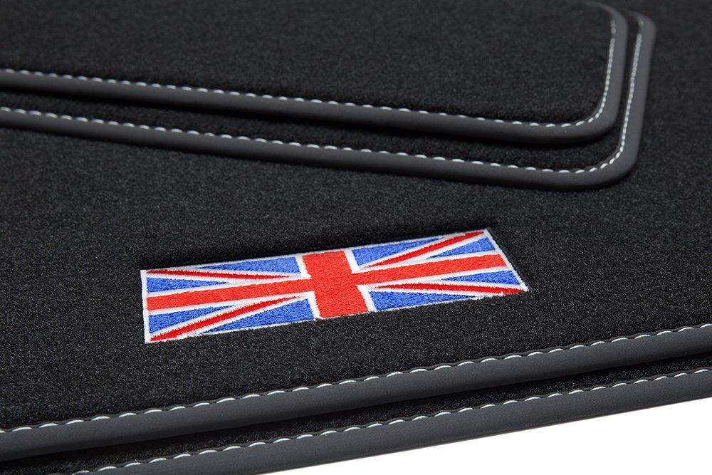 teileplus24 501 Set de Tapis de Sol Exclusive Union Jack avec Bordure en Caoutchouc et Coutures d/écoratives