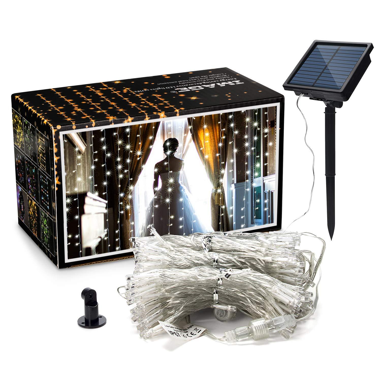 AGPTEK Curtain Lights, 9.8ft x 9.8ft Solar String Lights for Christmas/Halloween/Wedding/Party Backdrops - FULL Waterproof & UL Safety Standard - White