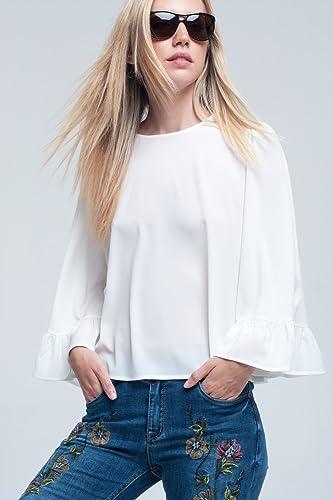 Q2 Mujer Blusa blanca con volantes