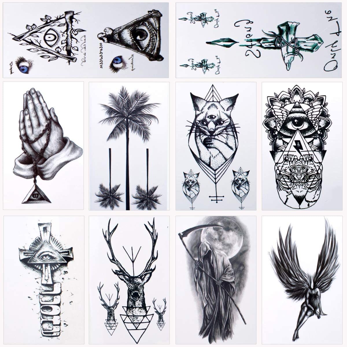 Szhuiher 36 Sheets Waterproof Temporary Tattoos Fake Tattoos Body Art Tattoo Stickers Black Transfer Tattoos For Arms Shoulders Chest Back Legs Amazon Co Uk Beauty