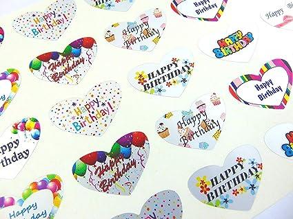 Joyeux Anniversaire Cœur Salutation Autocollants Argent Autocollantes Etiquettes Pour Cartes Enveloppes Loisirs Creatifs Decoration Amazon Fr Fournitures De Bureau