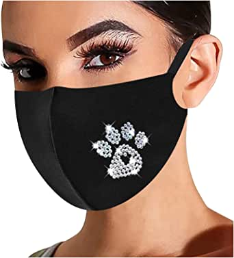 BEUU Bling Rhinestone Adult Women Reusable Breathable FaceCover Diamond Fashion Cloth Face_Bandana for Christmas Party