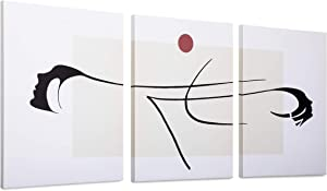 Minimalist Decor for Living Room Framed -3 Panel Japanese Room Decor-Minimal Wall Decor-Wall Canvas Art Work for Dorm-Wall Art Set of 3-12x16 Inch/Piece-Rustic Bedroom Decorations for Couples (Sunlight and Face)