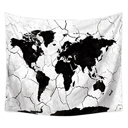 Amazon tapestry wall hanging world map black and white hippie tapestry wall hanging world map black and white hippie beach india art cool bohemian blanket twin gumiabroncs Gallery