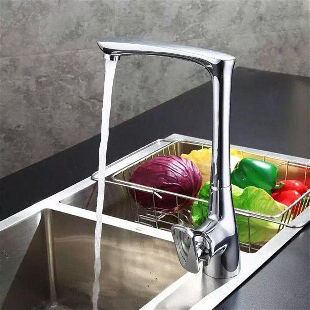 GQLB Küche massiv Messing Spüle tippen Mischbatterie warmes und kaltes Wasser hoch Mixer Waschbecken Wasserhahn schwenkbar tippen Sie auf Auslauf Waschbecken Wasserhahn aus massivem Messing.