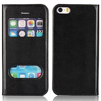 Copmob Funda iPhone 5s/5/SE, Funda Folio Carcasa con Funcion de Ventana, Soporte Plegable, Doble Cierre magnético para iPhone 5s/5/SE, Negro