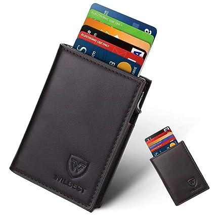 design innovativo 92f45 1c036 Portafoglio Uomo Vera Pelle Porta carte di credito minimalista con  protezione RFID, Slim Automatico Pop-up per carte di credito uomo (nero  brunastro) ...