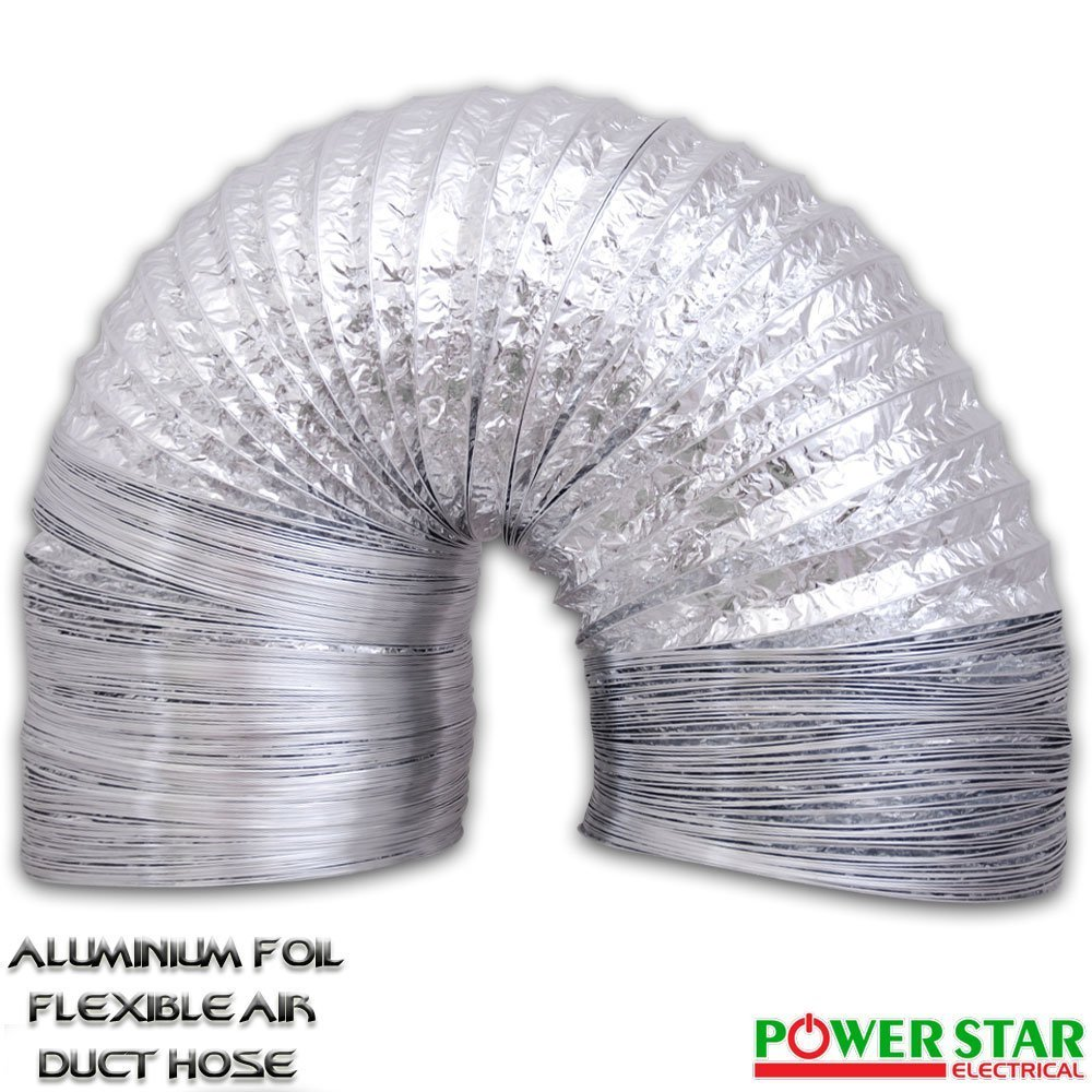 Air Ducting Aluminium Foil Flexible Ventilation Fan Duct Extractor Hydroponics Grow Room (200mm x 10m (8')) Powerstar