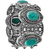 Yazilind Vintage Tibetan Silver Ethnic Gothic Oval Turquoise Inlay Wide Bangle Women