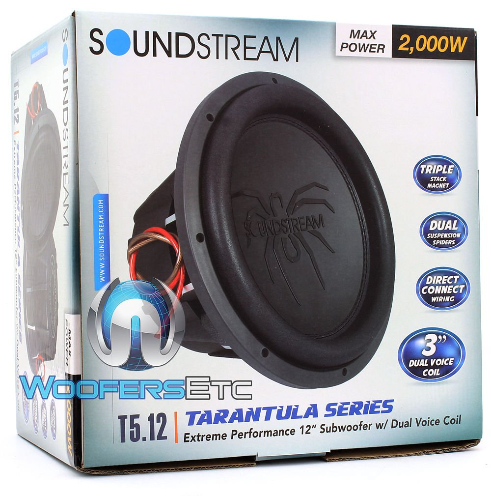 Amazon.com: Soundstream T5.124 12 Inch 1000 Watts RMS Dual 4-Ohm T5 ...