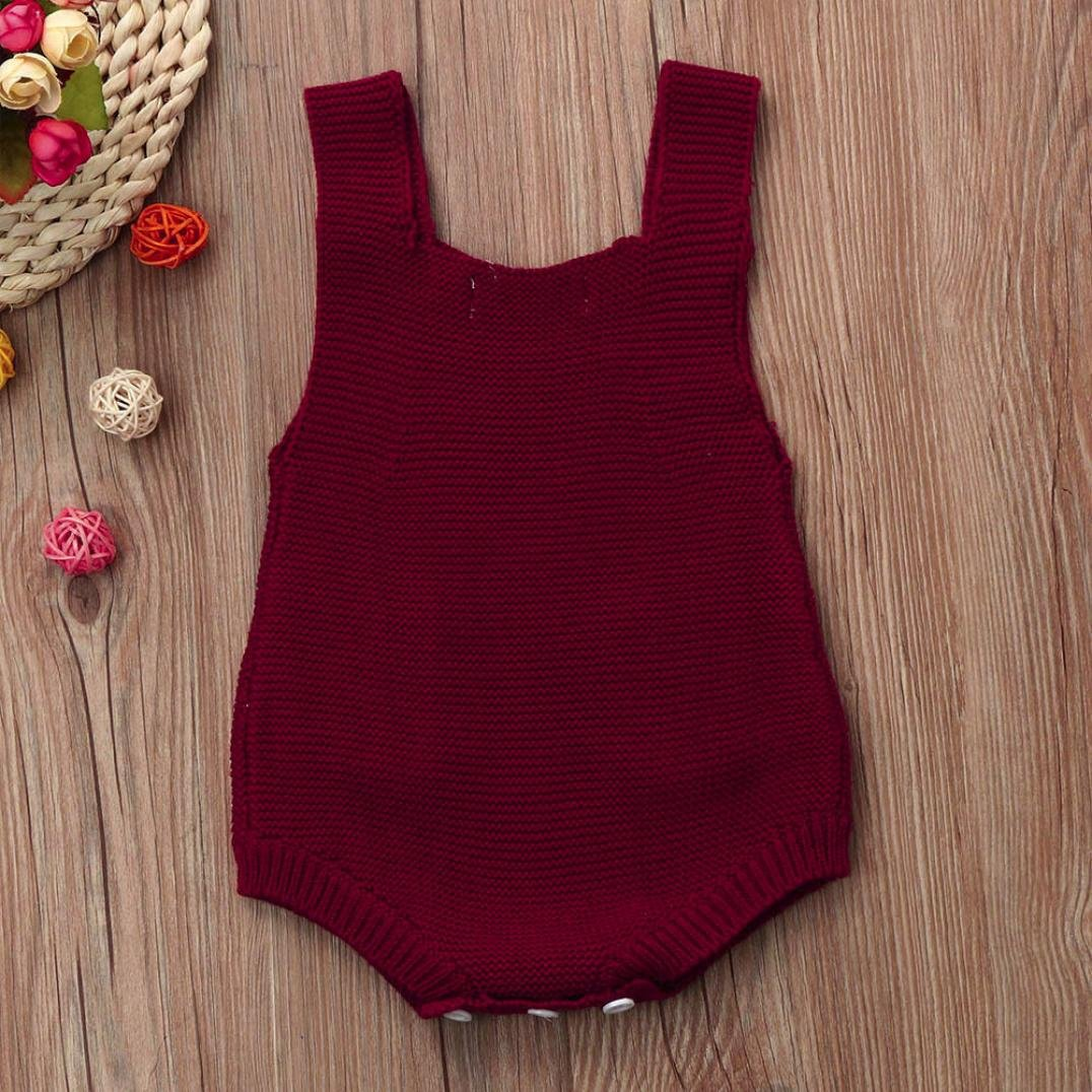 Newborn Baby Girls Solid Knitted Toddler Pocket Jumpsuit Clothes Romper Outfit