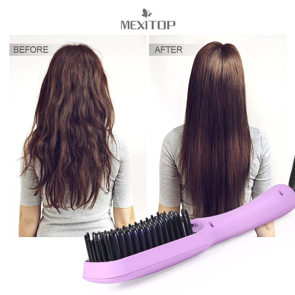 MEXITOP Ionic Hair Straightener Crescent Brush Comb,MCH Ceramic Heating, LED Display, Adjustable Temperatures, Anti Scald Hair Straightening for All Hair Types/4 Bonus Included/ Matt Purple