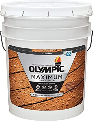 Olympic Stain Maximum Wood Stain and Sealer, Transparent Stain, 5 Gallons, Cedar Naturaltone