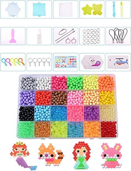Non-Toxic Art Craft Toys for Kids Adults Design Cards Bead Pen Key Rings BIZAR 3200Pcs 24 Colors Water Fuse Beads Kit with Pegboards Tweezers Sprayer