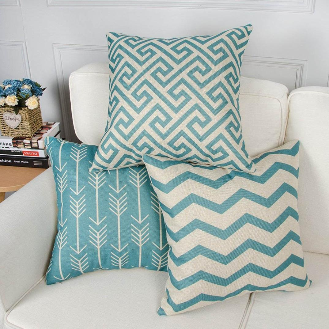 Hshi - Juego de 6 fundas de almohada con estampado geométrico de color azul para sofá, funda de cojín, cálida decoración para el hogar
