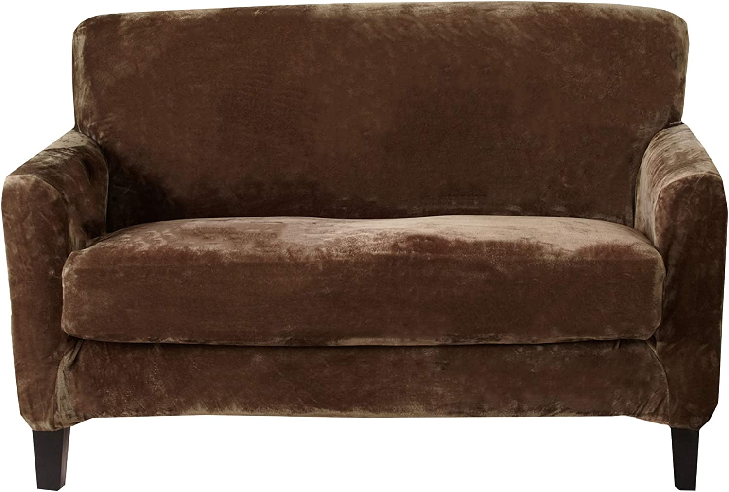 Great Bay Home 2 Piece Velvet Plush Loveseat Slipcover. Form Fit, Stretch Slip Resistant, Strapless Slipcover. Soft Stretch Loveseat Slipcover. Elliana Collection (Love Seat, Walnut Brown)