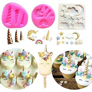 Juego de 3 moldes de unicornio para tarta de unicornio o orejas de cuerno de JeVenis, diseño de flores, arcoíris, fondant, chocolate y dulces: Amazon.es: ...