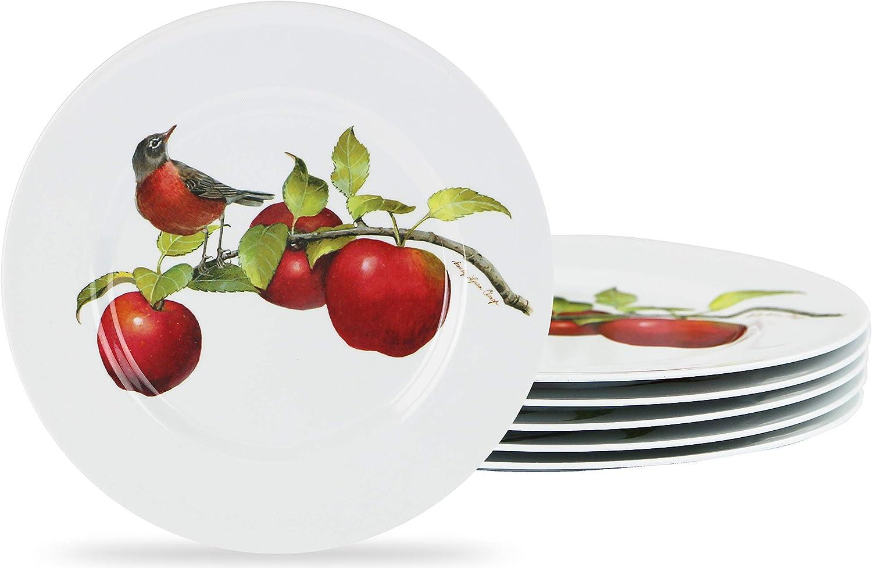 Reston Lloyd Harvest Apple by Sandy Clough, 6pc Melamine Salad Plate Set, white, red, green (72999set)