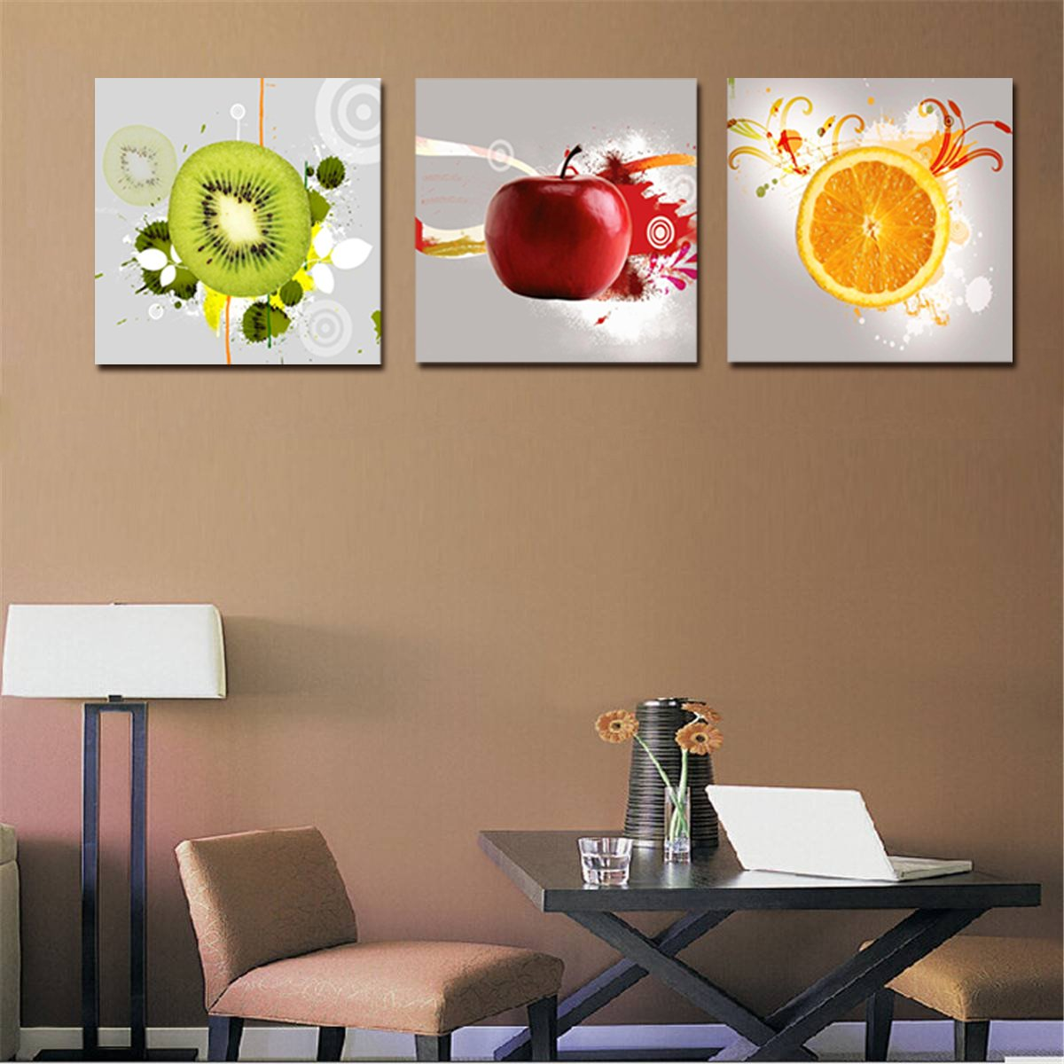 Pictures To Hang In Kitchen: Red Apple Orange Kiwi Wall Art Print Canvas Framed Kitchen