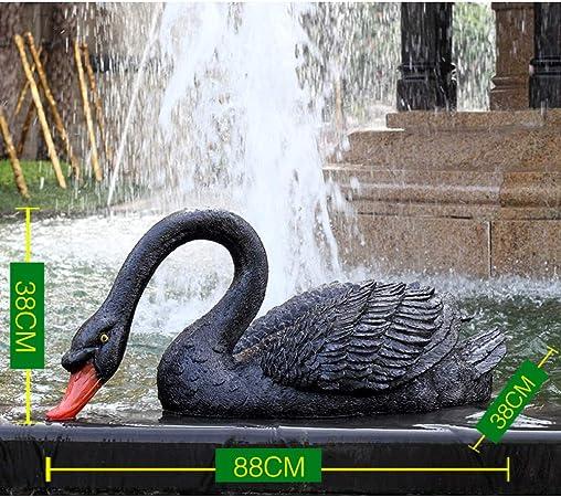 zenggp Estanque Adorno De Jardín Simulación Cisne Negro Cisne Negro Jardín Exterior Decoración De Fuente Escultura Animal,J: Amazon.es: Hogar