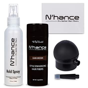 bc2c3a46 NHance Hair Fiber Spray Kit by The Rich Barber | Set Includes Thickening  Fibers, Hold