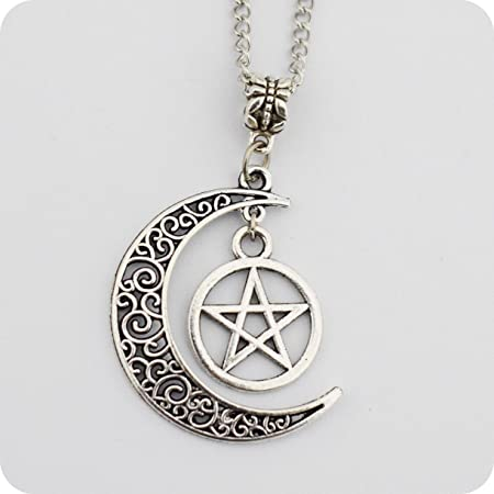 Silver pentagram and crescent moon pendant wiccan jewelry silver pentagram and crescent moon pendant wiccan jewelry pentacle necklace pentagram necklace aloadofball Images