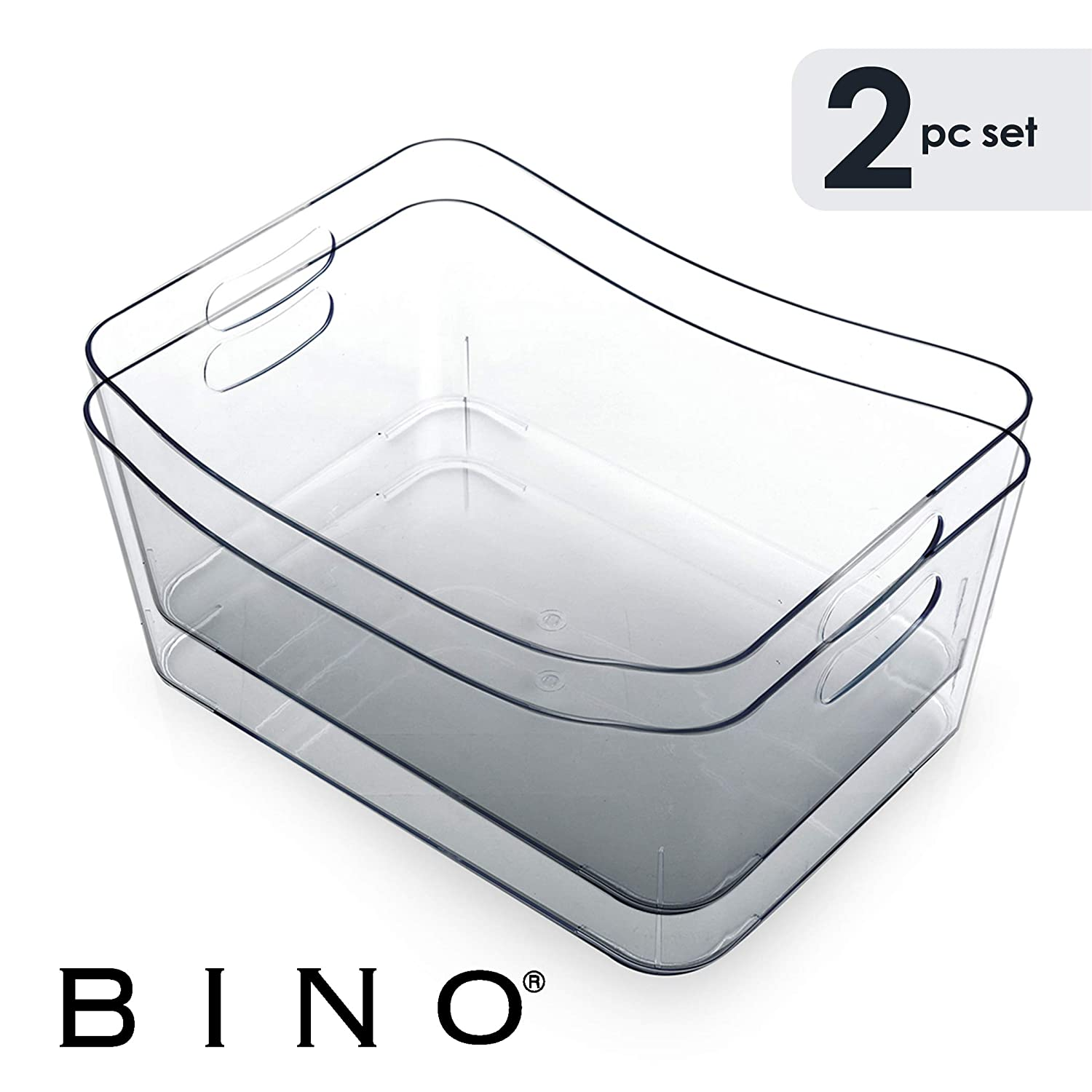 BINO Refrigerator, Freezer and Pantry Cabinet Storage Organizer Bin with Handles, Clear and Transparent Plastic Wide Nesting Food Container for Home and Kitchen - 2 Pack