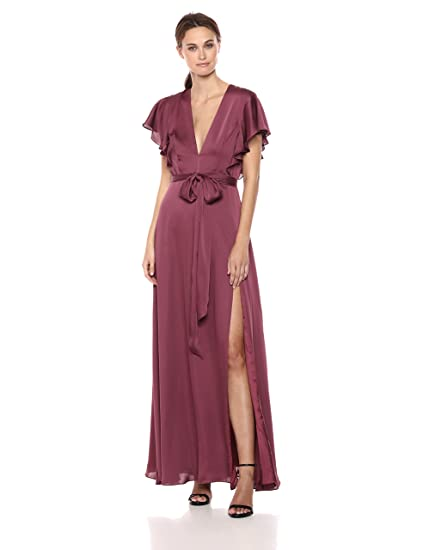 9fb659030ef0 Jill Jill Stuart Women s Gown with Ruffle Sleeves Special Occasion Dress   Amazon.co.uk  Clothing