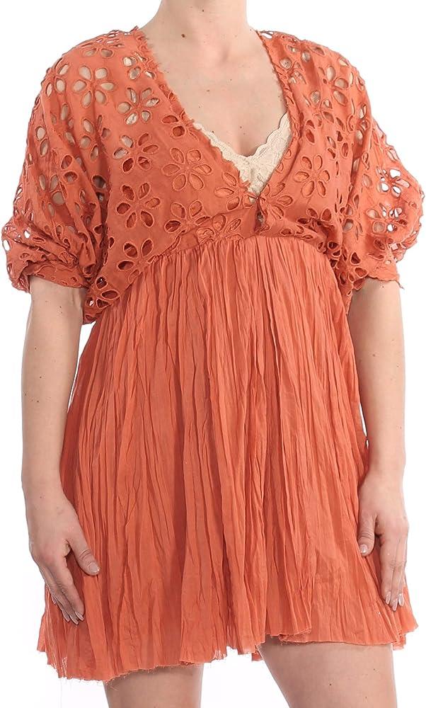 6bfcec76e74c Free People Womens Bella Note Eyelet Casual Babydoll Dress Orange XS