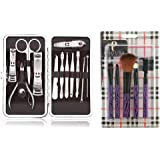 Foolzy® 17 in 1 Manicure Pedicure Make up Brush Set Kit (MSWHITECHECKS)