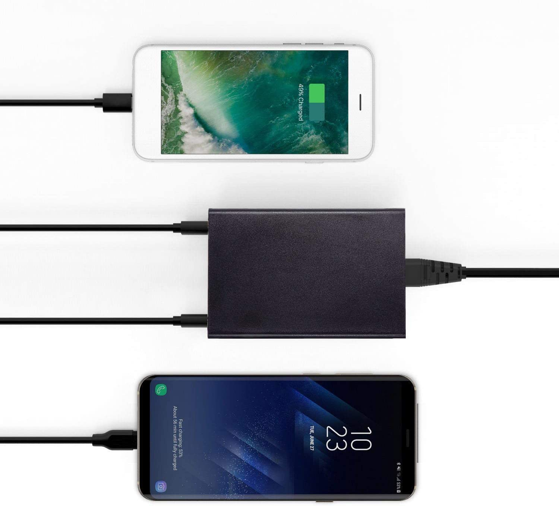 2 Port Quick Charge 3.0 et 4 Ports iSmart 2.0 5V//2.4A Noir DTK Chargeur USB 60W Quick Charge 3.0 USB 6-Port Station de Recharge Chargeur de Bureau pour iPhone XS//XS Max//XR // 8