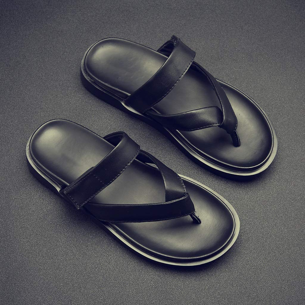 Pantofole HUYP Sandali E Ciabatte Nere Nere Nere Sandali da Uomo Infradito Morbido Infradito Indossare Scarpe da Spiaggia alla Moda (Dimensioni   41) e8a283