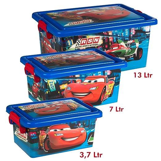 ARDITEX WD12112 Caja 38x31x25cm 38x100cm Contenedor Textil con Pista de Juegos desenrollable de Disney-Pixar-Cars