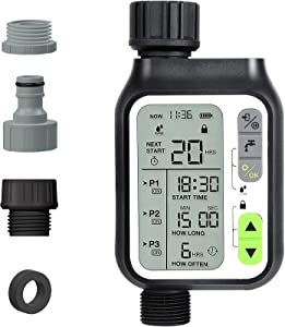 Kazeila Sprinkler Timer, Water Timer with 3 Separate Watering Programs Hose Timer with Rain Sensor,Child Lock, Auto & Manual Watering Mode,IP65 Waterproof for Garden