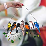 QINFUNI Birds Stained Window Panel Ornaments Birds On a Wire Pastel Window Hanging Decoration Glass Suncatcher Pendant Home D