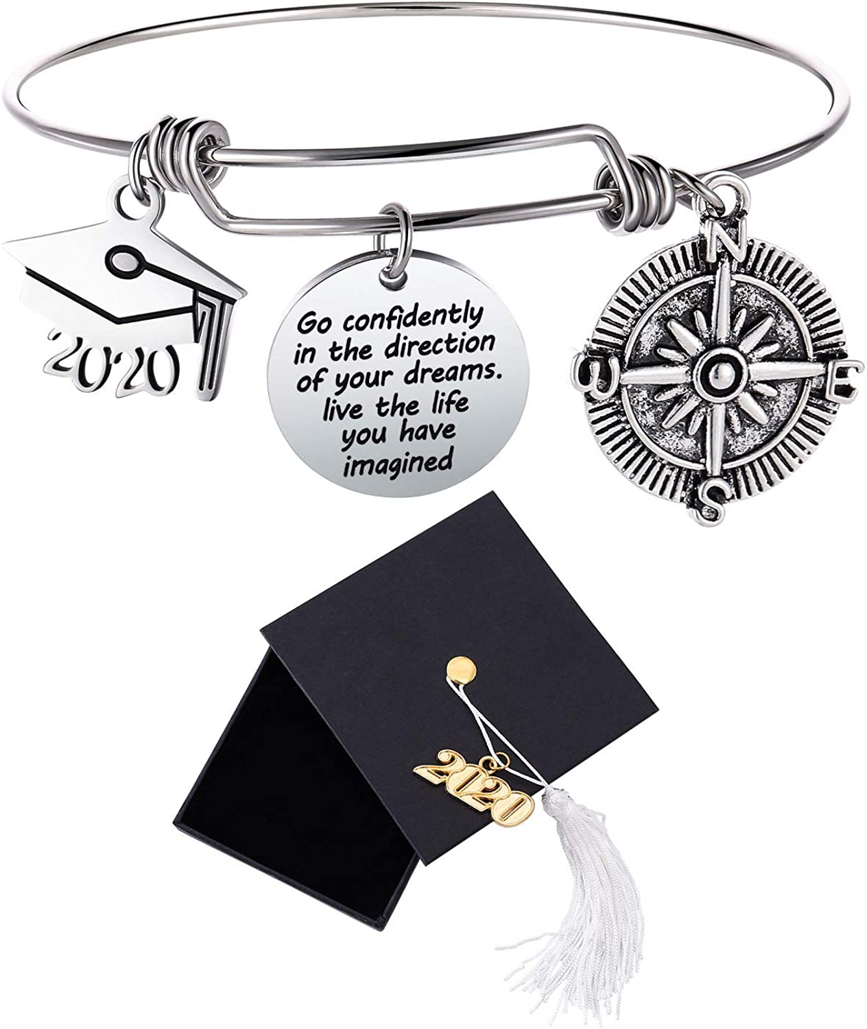 Graduation Cap Bangle Bracelet Compass Expandable Bracelet Graduation Gift Inspirational Jewelry for Women Girl Go Confidently In The Direction Of Your Dreams Live The Life You Have Imagined