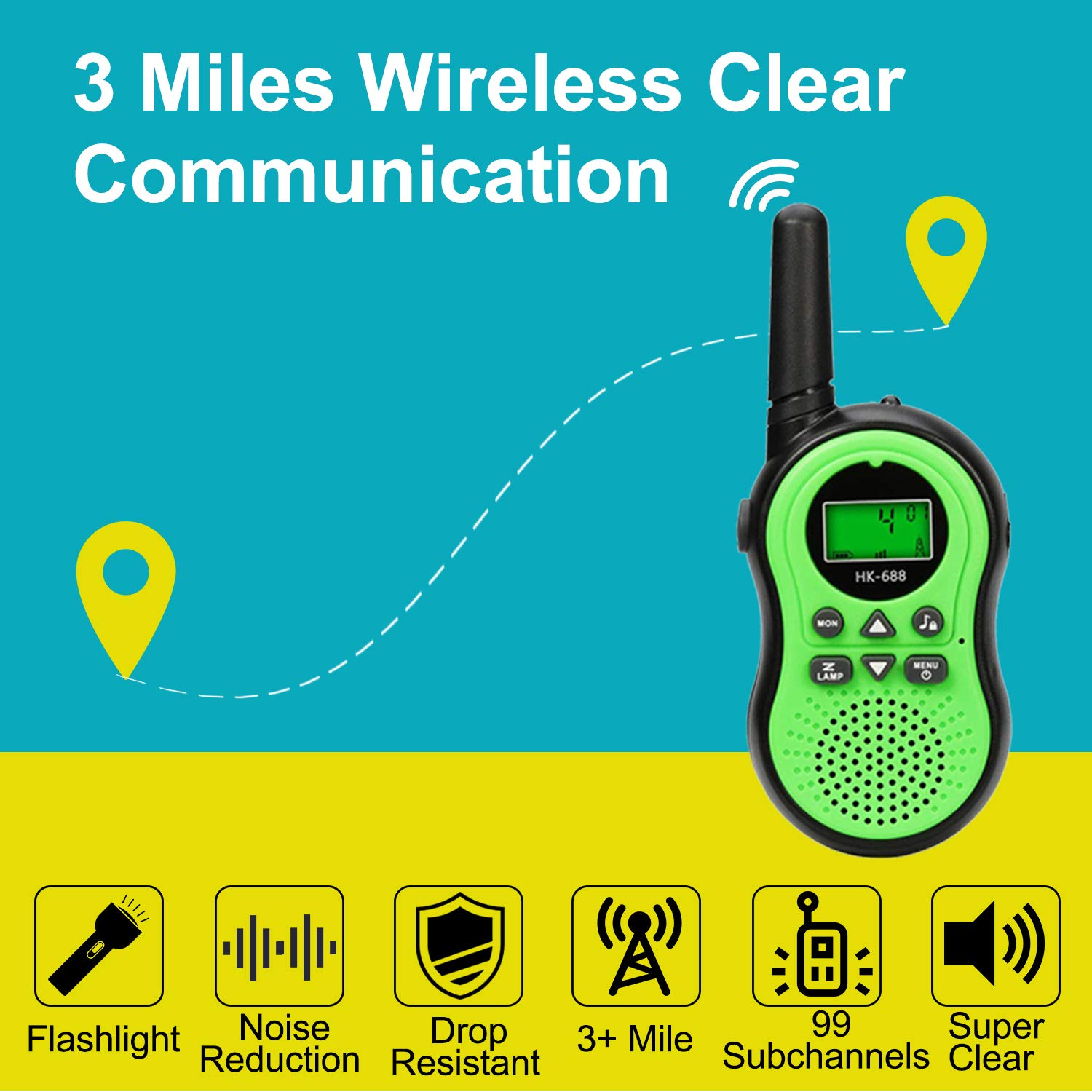 6 Pack Kids Walkie Talkies Outdoor Indoor Toys for Boy Girl 22 Channels Two Way Range Up to 3 Miles Flashlight FRS Radio Handheld Walkie Talkie Adventure Camping Game Back to School Birthday Best Gift by Camlinbo (Image #4)