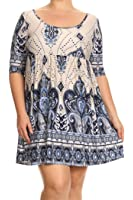Women's Plus Size Print Short Dress MADE IN USA