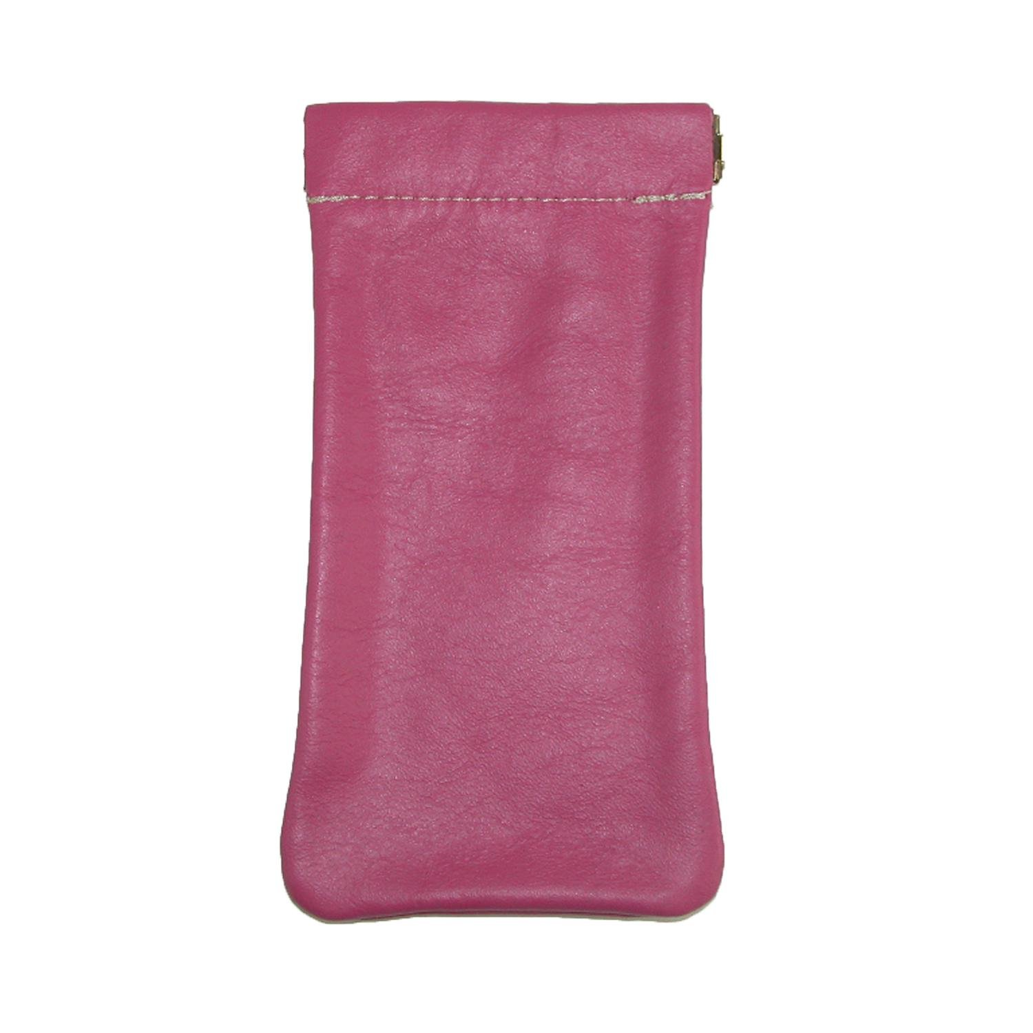 CTM Women's Leather Fashion Color Eyeglass Holder and Case, Pink