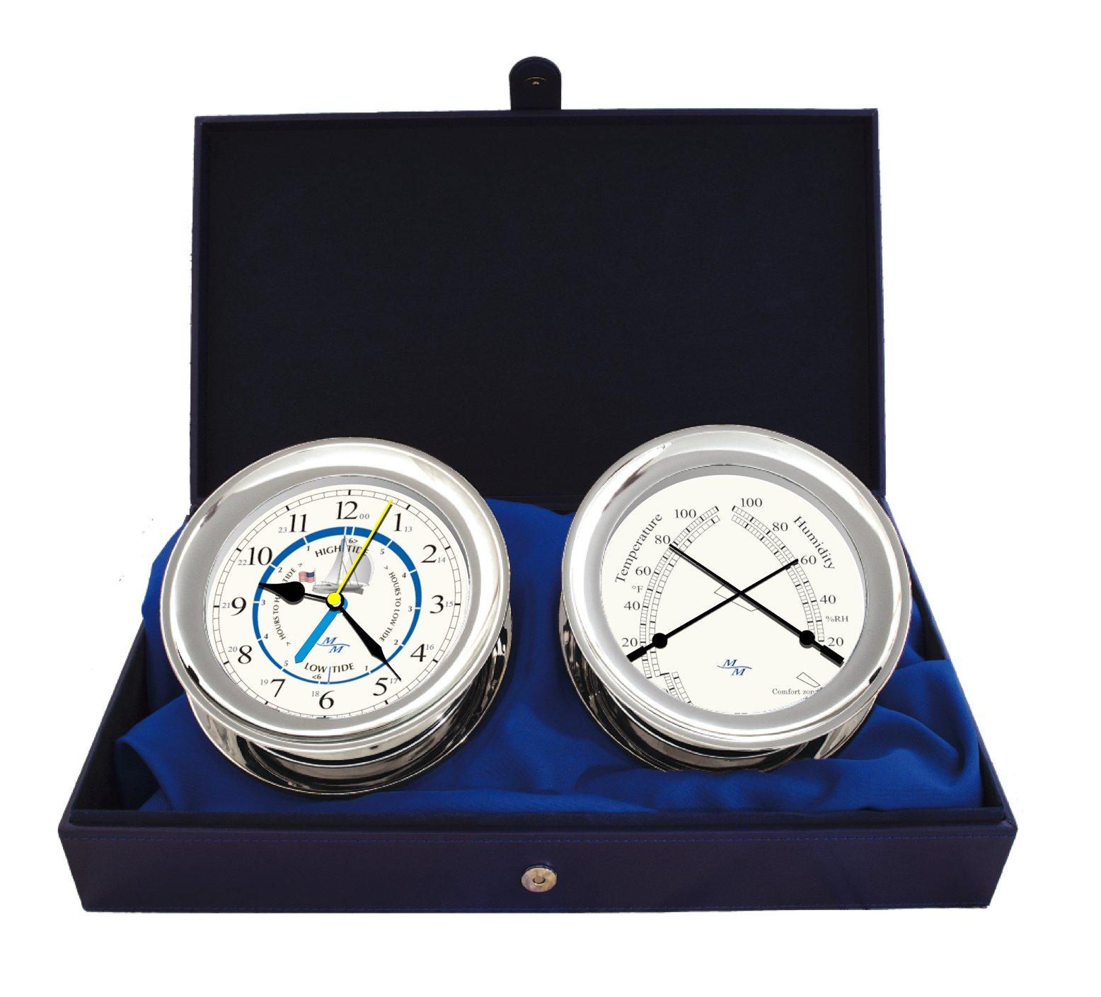 Windlass Gift Set Time & Tide Clock & Comfort Meter by Master-Mariner, Chrome finish, Ivory ship dial