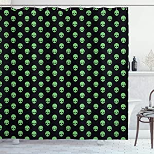 """Ambesonne Alien Shower Curtain, Supernatural Martiansal Beings from Other Planets Head of an Alien, Cloth Fabric Bathroom Decor Set with Hooks, 70"""" Long, Fern Green Black"""
